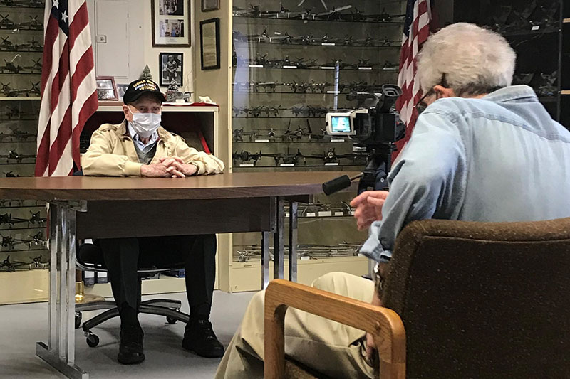 Tim Kiniry, of Vineland is our mock veteran interviewee, and 99-year-old veteran and former US Army medic